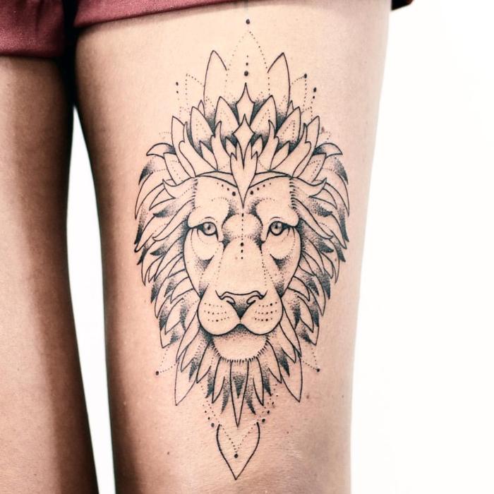 Graphique tatouage signe astrologique lion géométrique tatouage