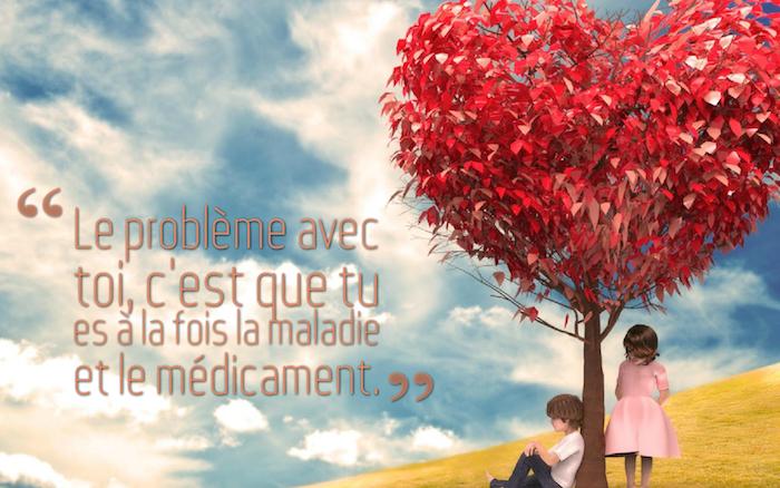 citation sur l amour, dessin de nature et de couple, arbre avec une couronne de feuilles en forme de coeur, petite fille robe rose pastel