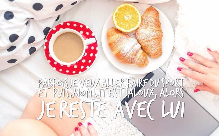 citation humoristique, photo réveil et petit-déjeuner dans le lit, phrase drole pour ceux qui aimer dormir