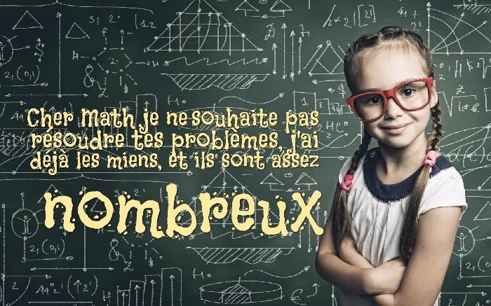 image drole, photo étudiante devant le tableau de maths, citation amusante sur les leçons de math