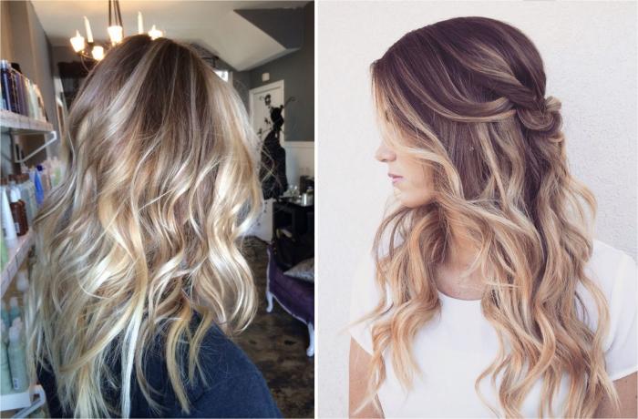 mèches blondes, coiffure cheveux mi-attachés avec boucles, coloration racines brunes avec pointes blondes