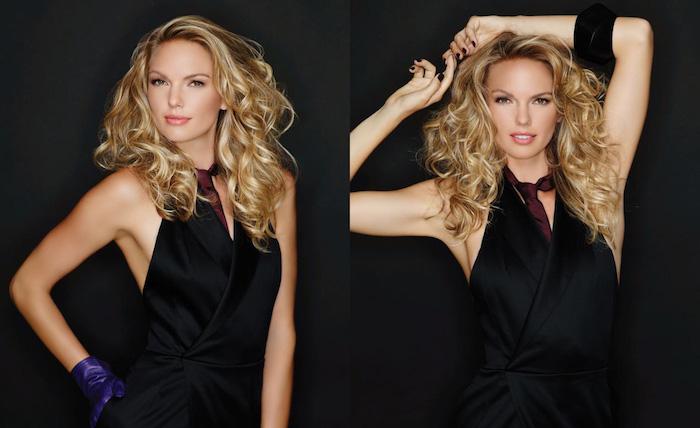 coloration cheveux, costume noir sans manches avec cravate bordeaux modèle pour femme élégant, coiffure avec volume