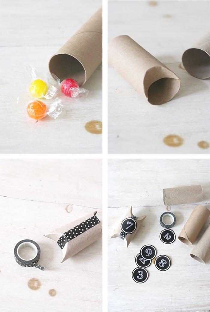 idée originale pour transformer un rouleau papier toilette en boîte à dragées personnalisée