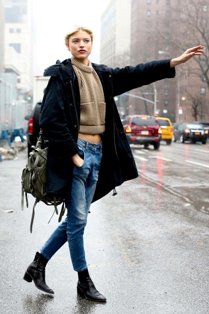 Idée tenue jean noir combat boots homme bottes cuissardes plates une new yorkais femme bien habillée automne