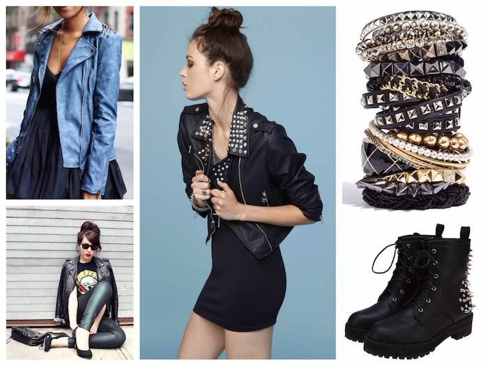 tendance fashion, comment assortir ses vêtements en style rock pour femme, robe courte en noir avec veste en denim