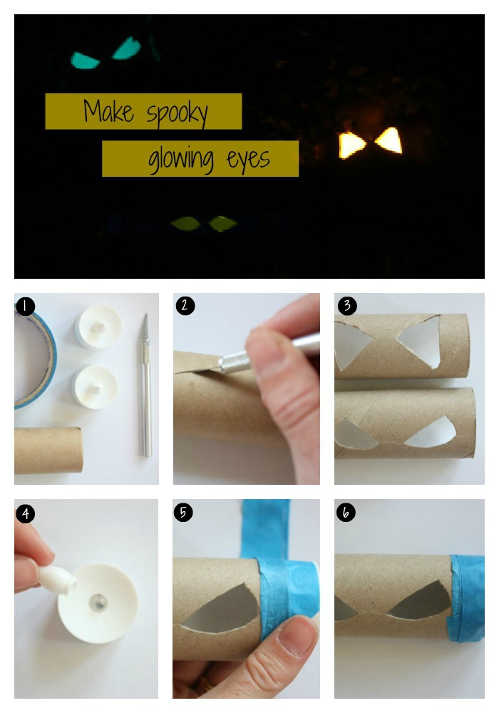 déco de halloween originale à réaliser avec les enfants, des eyeux découpés dans des tubes en carton de papier toilette, illuminés par des bâtons lumineux