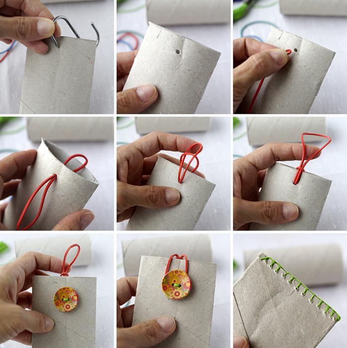 comment faire un porte-cartes en papier toilette récupéré, bricolage facile pour enfants et adultes avec du papier recyclé