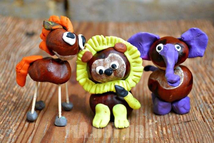 des animaux fabriqués à partir de marrons et pate a modeler, activité manuelle maternelle automne simple