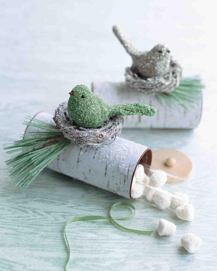 astuce bricolage pour transformer un rouleau papier toilette vide en jolie boîte à dragées motif bouleau avec nid d oiseau