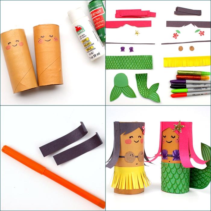 un bricolage en papier facile avec des tubes en carton recyclés pour créer des figurines originales sirène et danseuse de hula