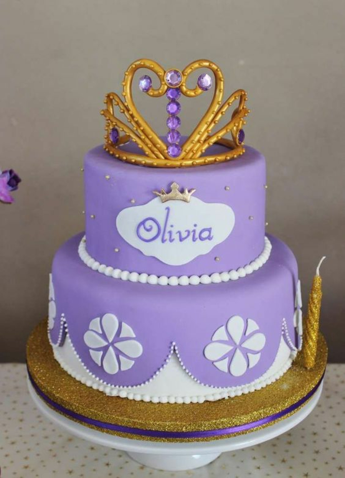 Le gateau princesse le chateau princesse étage gateau chateau délicieux deux étages violet et doré gateau