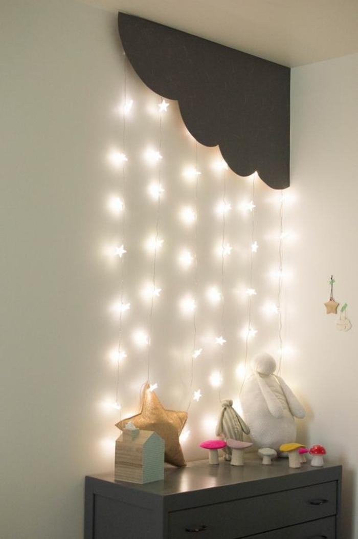 cadeau de naissance original en forme de guirlandes lumineuses étoiles tout au long du mur pour rassurer bébé