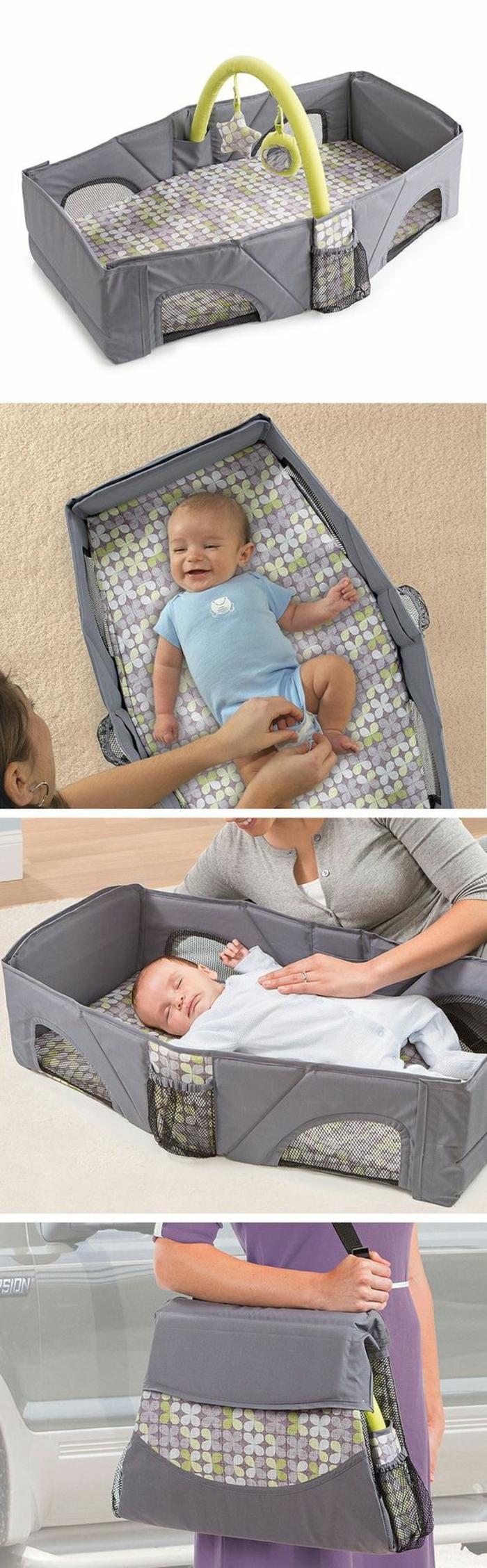 cadeau naissance personnalisé pour le sommeil de bébé et pour le transporter partout avec soi avec des rangeremnts pour les bouteilles de lait
