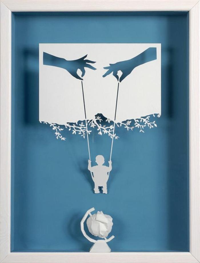cadeau naissance personnalisé maman papa et moi enfant sur sa balancoire penchée au dessus du monde symbolique