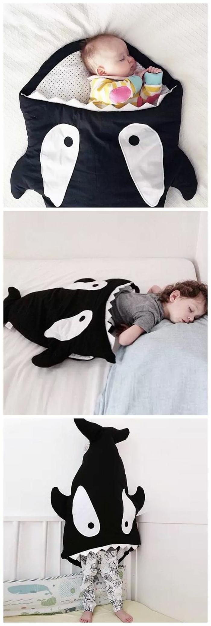 cadeau pour fille cocoon pour dormir et pour jouer dans la forme d'un requin en noir et blanc