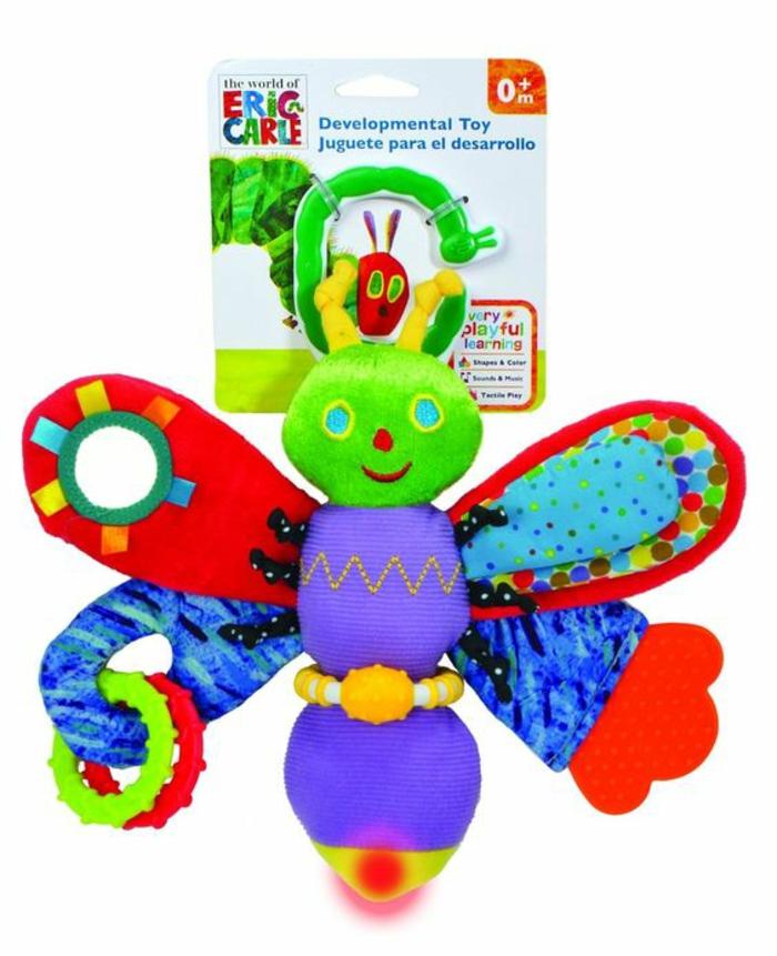 idée cadeau bébé jouet d'éveil papillon aux couleurs vives facile a tenir dans la main