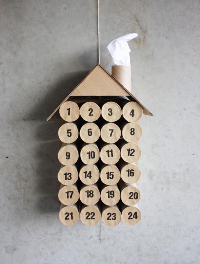 comment réaliser un calendrier de l'avent avec rouleau papier toilette recyclé, une déco de noel récup à réaliser avec les enfants