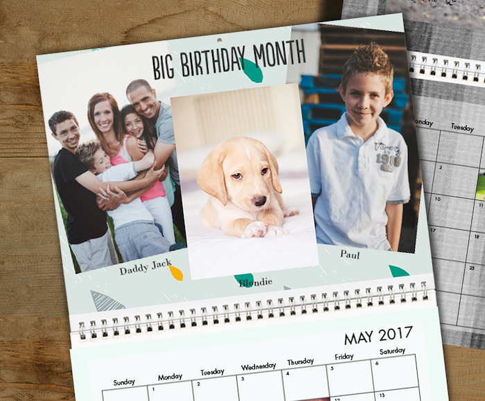 idée de calendrier personnalisé pour cadeau fete des grands peres avec des photos de famille et les dates importantes