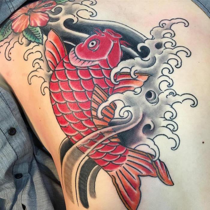 carpe koi tattoo poisson rouge dos entier japonais