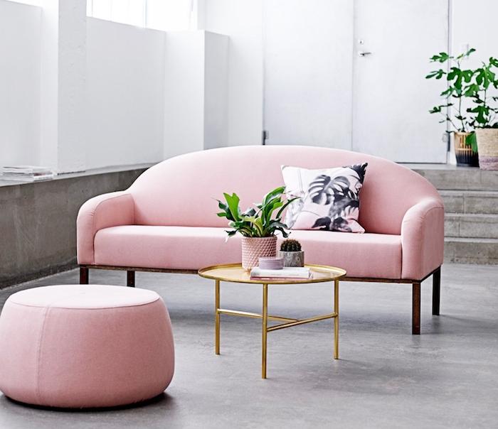 couleur pastel au salon gris, murs de salon peints en blanc, canapé et tabouret en tissu rose pâle