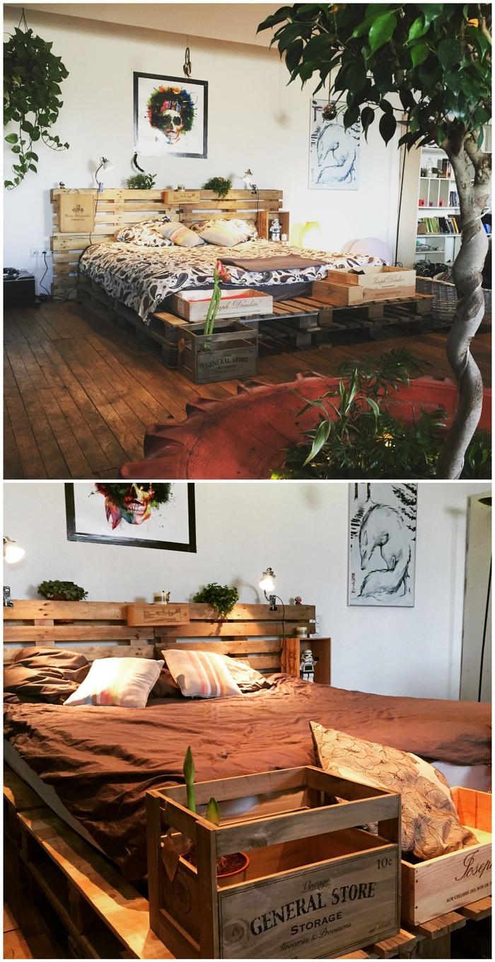 une ambiance naturelle grâce au lit et sa tête en bois recyclé, comment faire un lit avec des palettes
