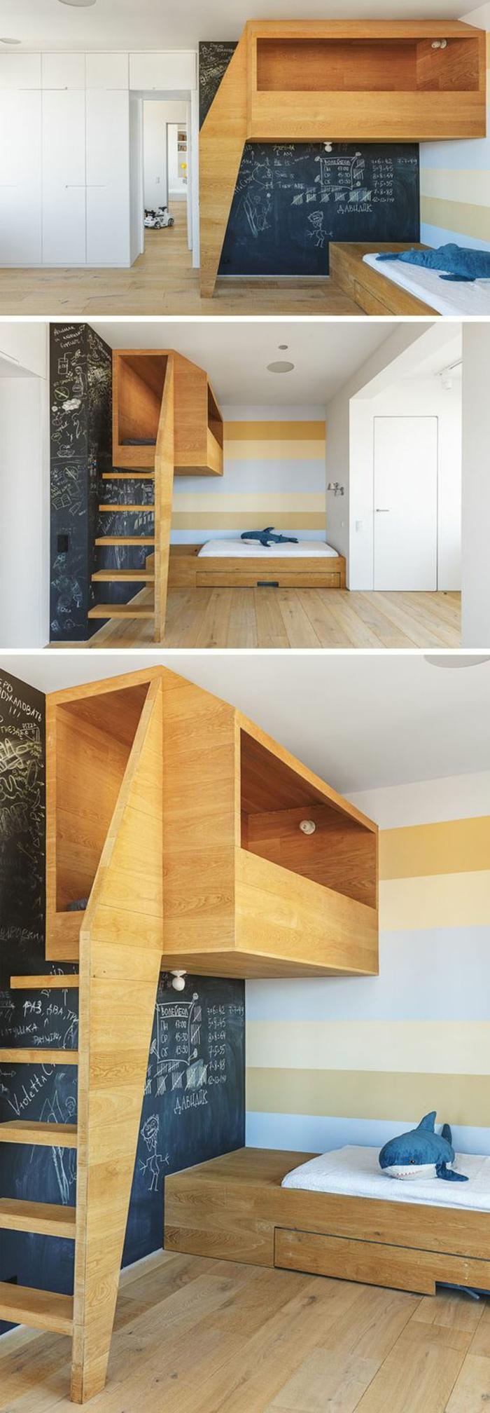 deco chambre garcon a deux niveaux avec lit cubique en bois clair et des murs aux rayures horizontales couleurs pastels