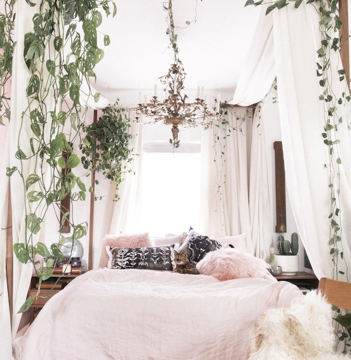 chambre adulte cocooning, linge de lit rose, coussins blanc, noir et rose, lit baldaquin et plantes grimpantes, lustre élégant
