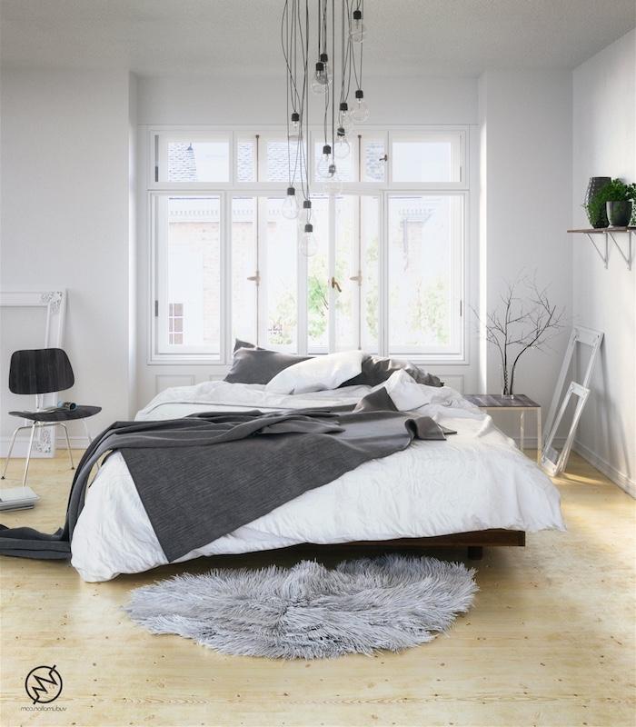 deco chambre cocooning avec linge de lit gris et blanc, parquet clair, suspension en ampoules électriques, cadres blancs, tapis de fourrure gris