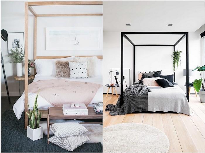 chabre cocooning, exemple de piece avec linge de lit noir et gris, aprquet clair, chambre avec lit baldaquin bois et linge de lit blanc et rose, coussins gris et blanc