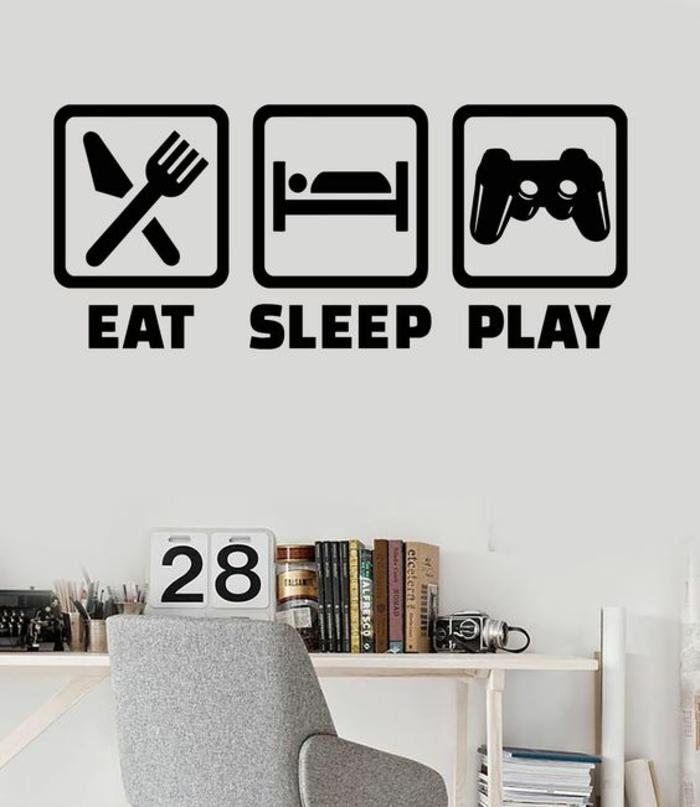 chambre ado Mange dors et joue les commandements de l adolescent bureau en blanc avec fauteuil en gris