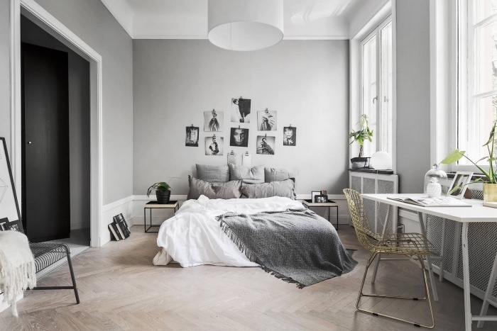 chambre noir et gris excellent chambre gris blanc noir. Black Bedroom Furniture Sets. Home Design Ideas