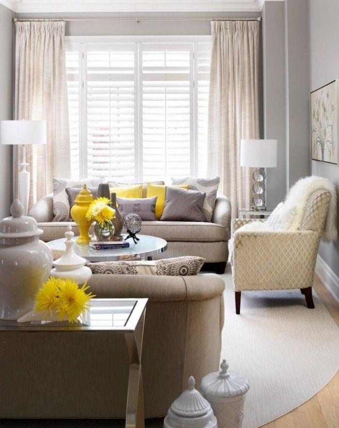 accorder murs salon gris style taupe avec jaune