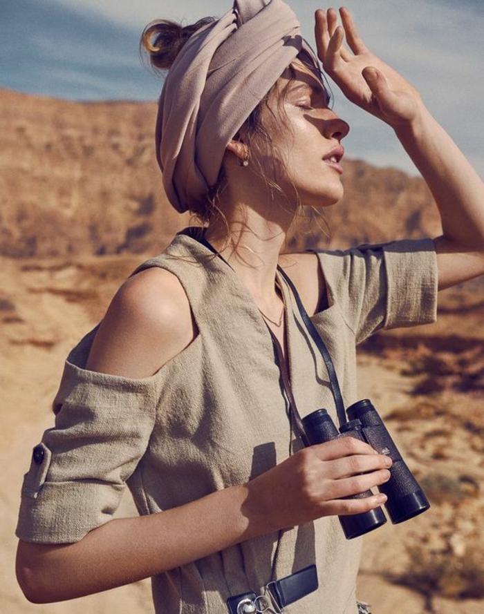Kaki robe chemisier femme zara femme chemise robe la saharienne cool coiffure hippie