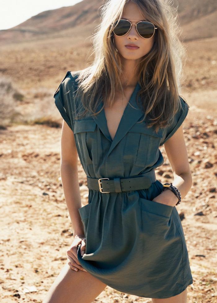 La robe safari robe chemise longue vetement saharienne femme ceinture robe chemisier