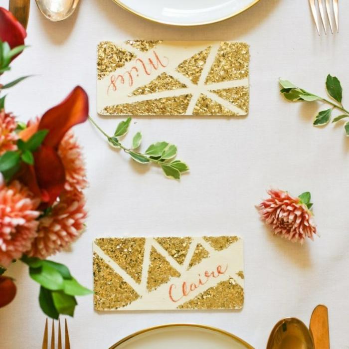 Quelle marque place bonbon porte nom vintage idées déco adorable idée cartes dorées