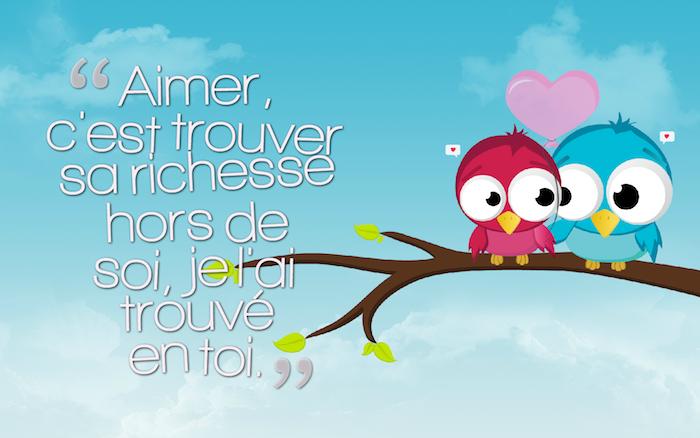 belle phrase d amour, dessin en couleurs au ciel bleu et nuages blanches, couple d'oiseaux amoureux