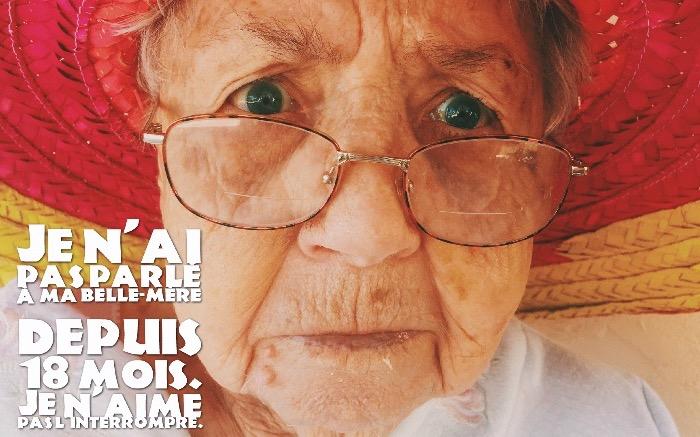 image rigolote, photo de vielle femme à capeline et lunettes en vue avec citation drole