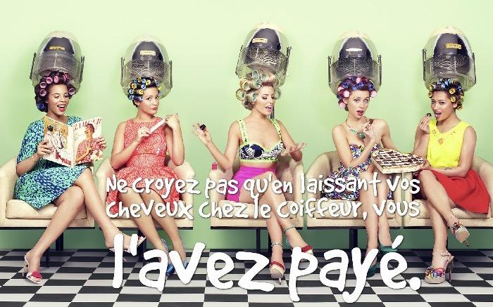 blague drole, photo femmes au salon de beauté, procédure embellissement des cheveux