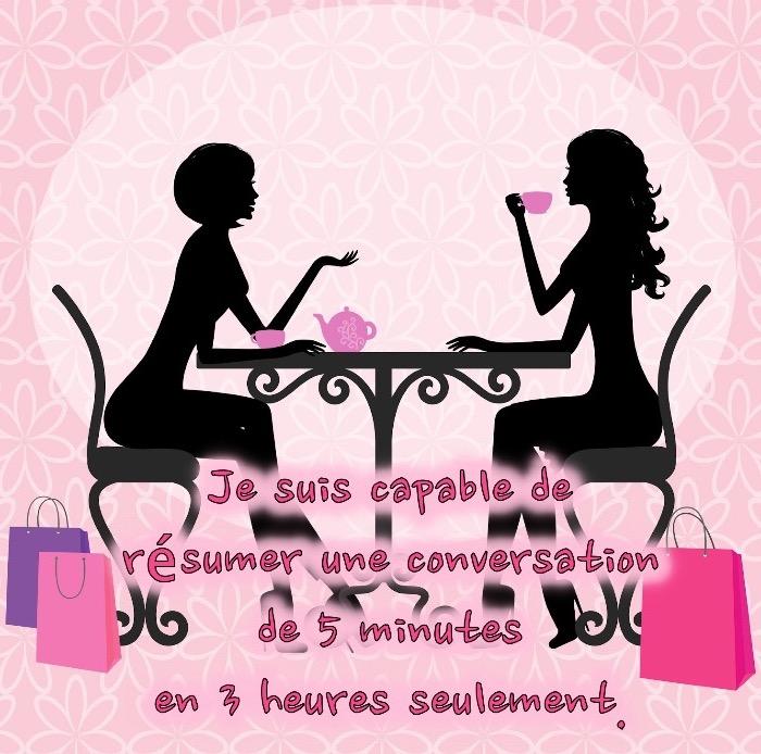 blague drole, dessin fond rosé avec silhouettes féminine, illustration conversation dans un café avec phrase drole