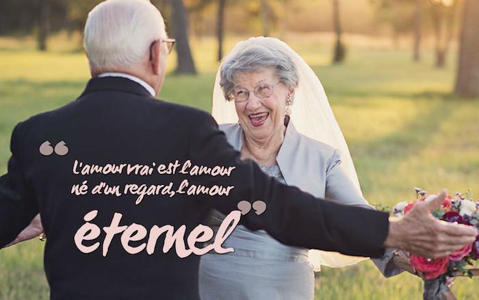 belle phrase d amour, mariage vieux couple, costume homme en blazer noir et chemise blanche