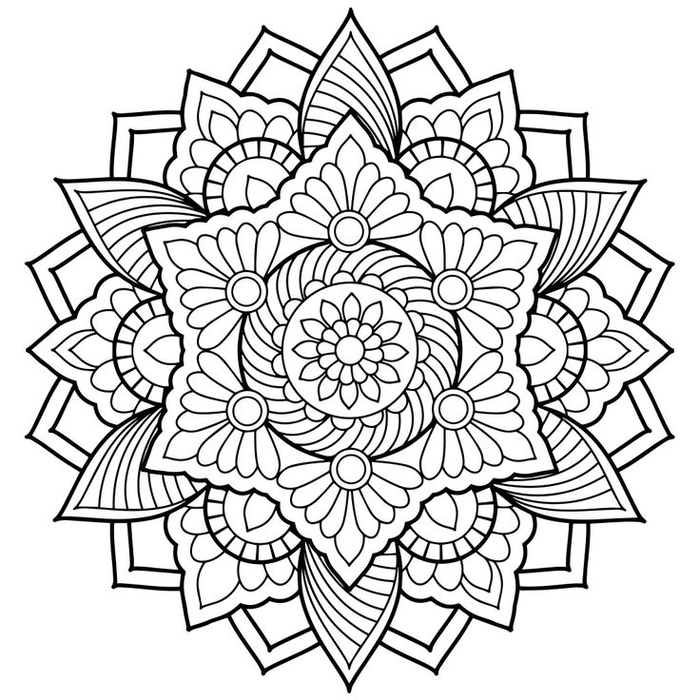 un dessin anti stress à colorer représentant un mandala floral d'une grande complexité