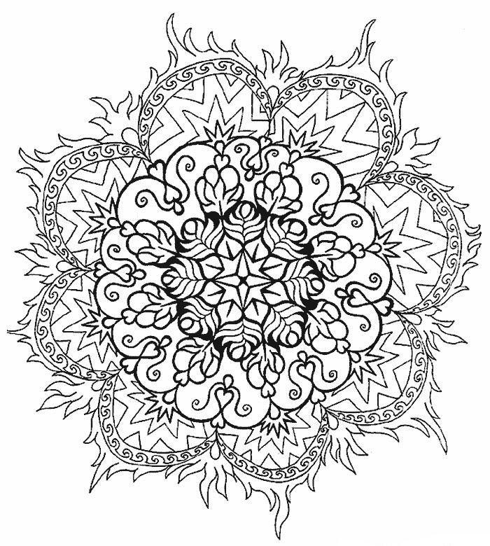 un coloriage de mandala à motif fleur stylisée au design complexe