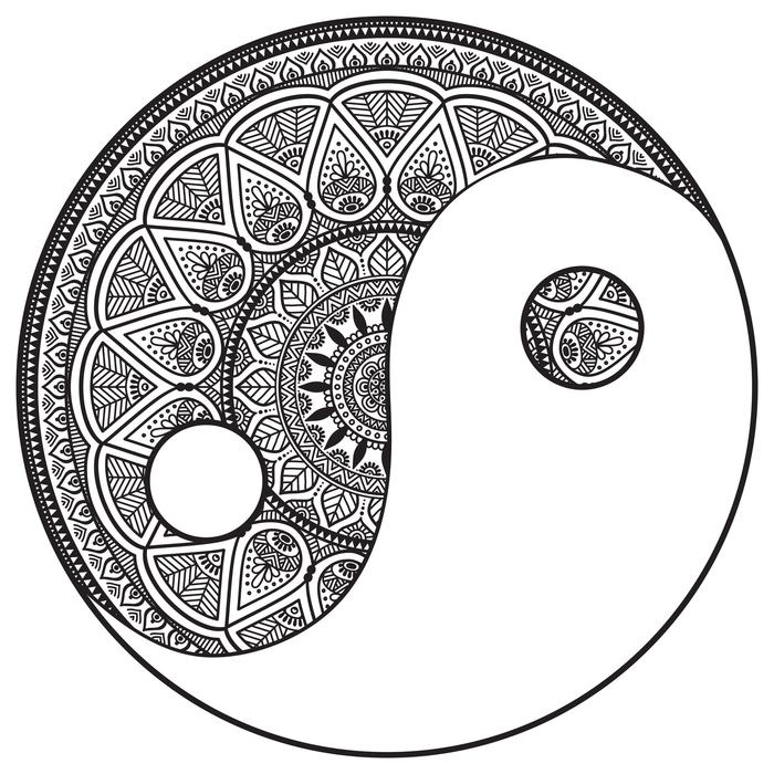 une représentation de symbole yin et yang en forme de dessin mandala noir et blanc, un coloriage zen pour adultes