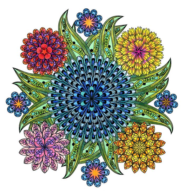un dessin mandala au motif central fleur ornée d'autres fleurs aux couleurs différentes