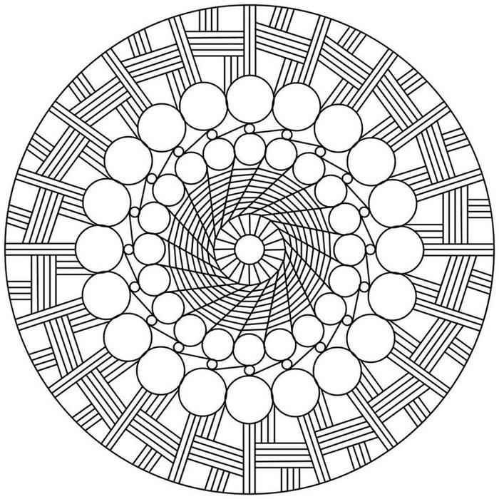 un dessin anti stress de mandala à effet hypnotisant et aux motifs géométriques