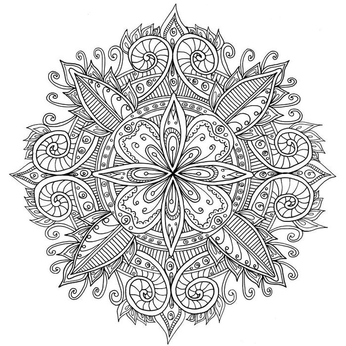 un coloriage gratuit à imprimer et à colorier en forme de mandala à motif central fleur ornée de spirales