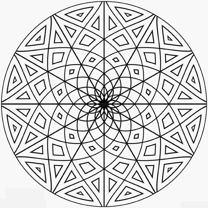 joli mandala pour un coloriage anti-stress, représentation d'un mandala aux simples formes géométriques