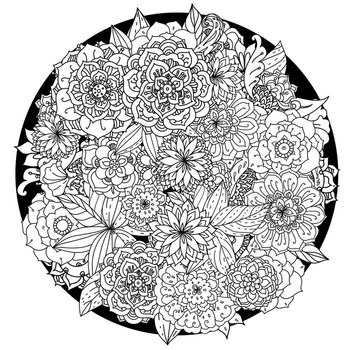 un dessin anti-stress en forme de mandala aux motifs floraux complexes