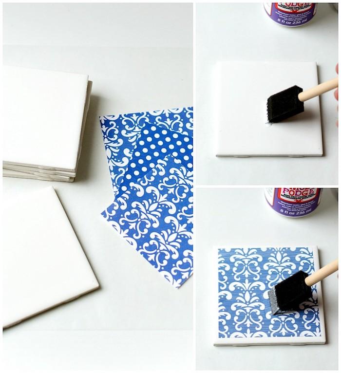idée comment fabriquer des sous verres diy à partir de carreaux customisés de papier découpge bleu, idée cadeau grand père