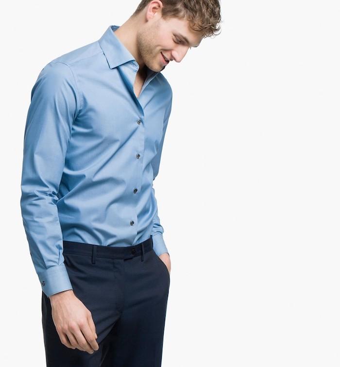 tendance de mode, dress code professionnel pour homme, pantalon et chemise en nuance bleue